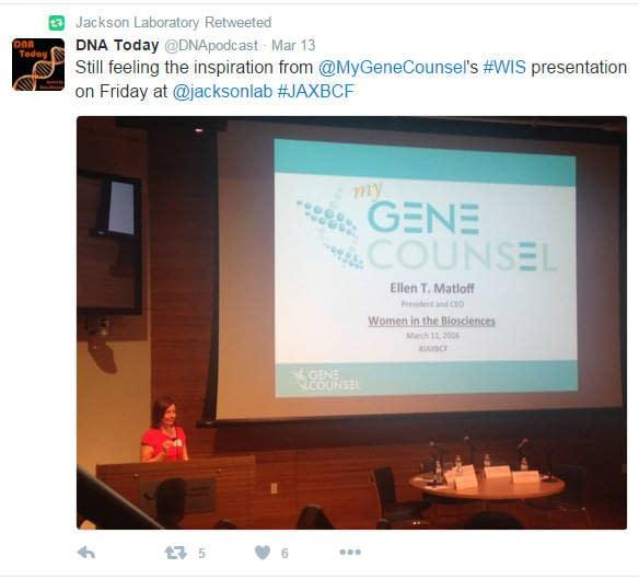 My Gene Counsel Keynote Speaker at Jackson Laboratory Bioscience Forum