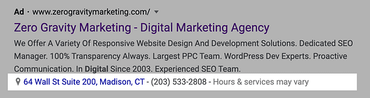 google ads location & call extension on desktop
