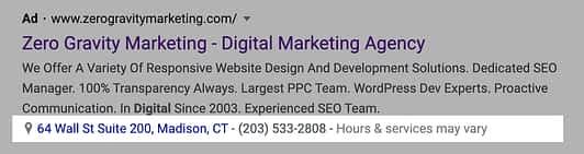google ads location & call extension on desktop